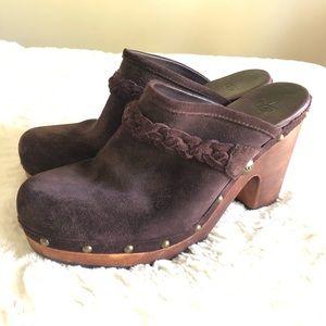 UGG Kaylee Suede Braided Studded Mule Clog Shoes 9